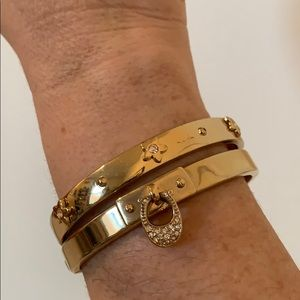 Coach gold tone with CZ bangles